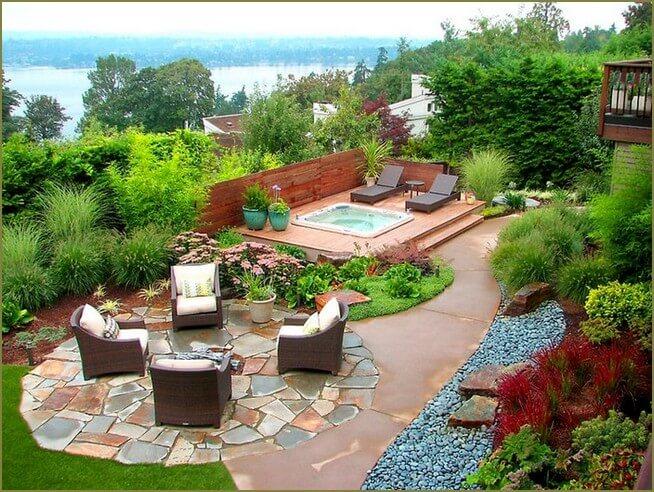 зона отдыха в саду на даче