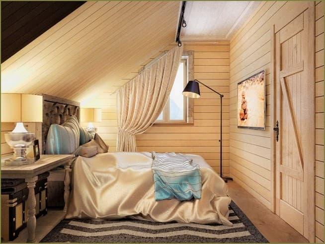 дизайн интерьера спальни на мансарде загородного дома