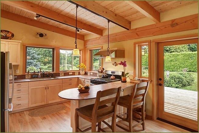 дизайн интерьер кухни загородного дома