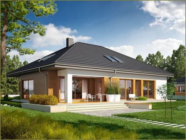 комбинированный фасад одноэтажного дома