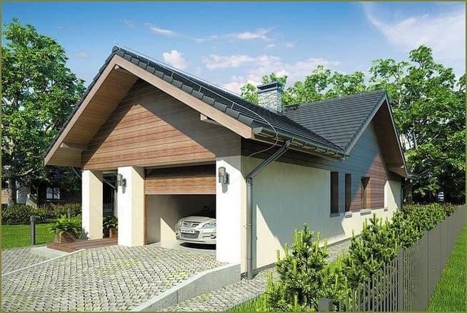 фасад одноэтажного дома с гаражом