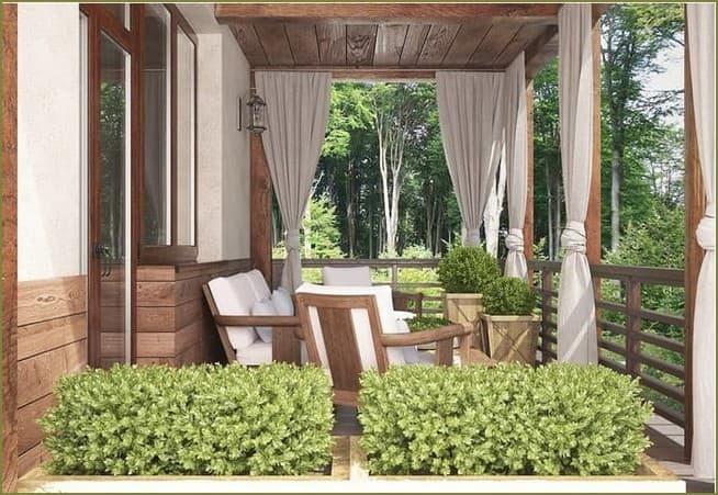 украшение шторами веранды дачного дома