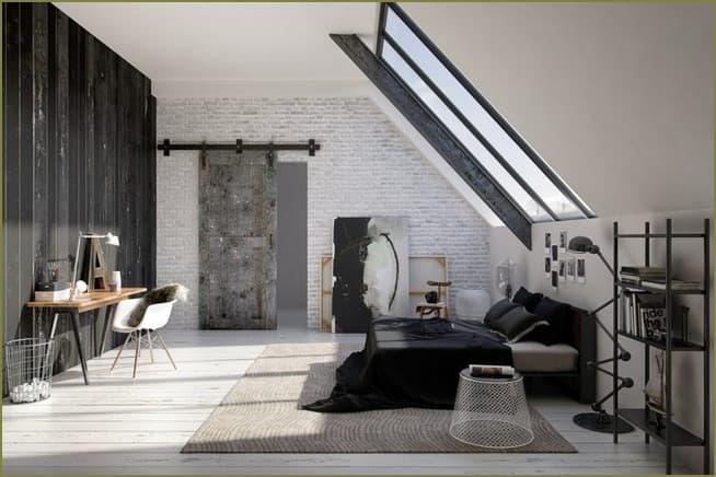 спальня на мансарде частного дома