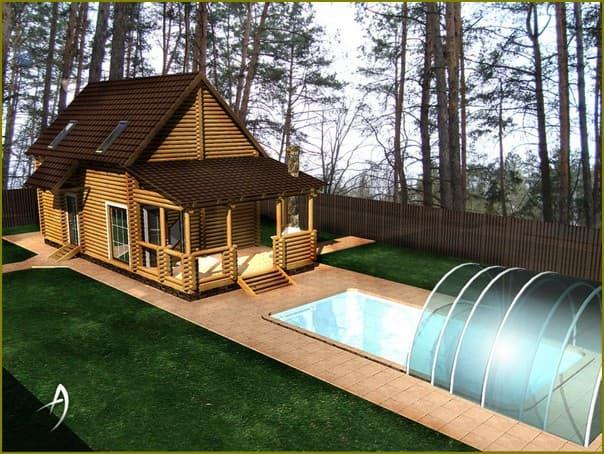 Баня с беседкой и бассейном