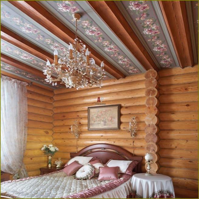 оформление потолка на даче