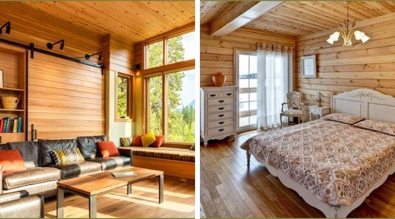 внутренний дизайна частного дома с отделкой деревом