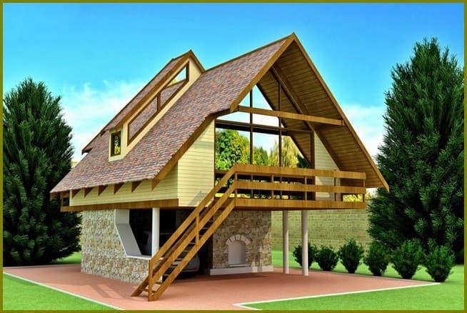 дачный дом с мансардой и балконом