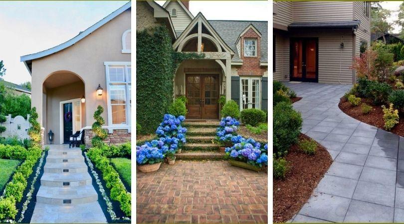 красивые дорожки при входе в дом